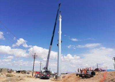 Montaje de postes troncocónicos